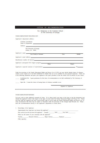 Letter of Recommendation for Admission to the Graduate School