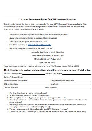 Letter of Recommendation for CEYE Summer Program
