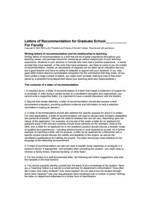 Letter of Recommendation for Graduate School for Faculty