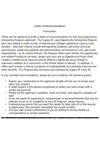 Letter of Recommendation for Social Responsibility