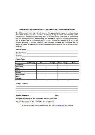 Letter of Recommendation for Summer Research Internship Program