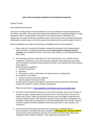 Letter of Recommendation for the Goldwater Scholarship