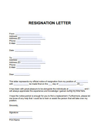 Letter of Resignation Format