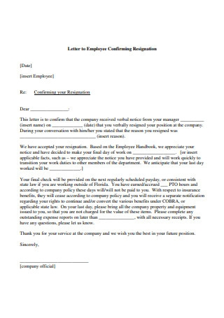 Letter to Employee Confirming Resignation1