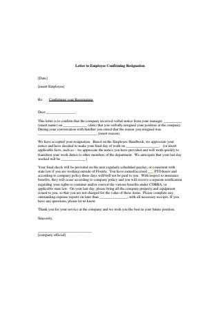 Letter to Employee Confirming Resignation2