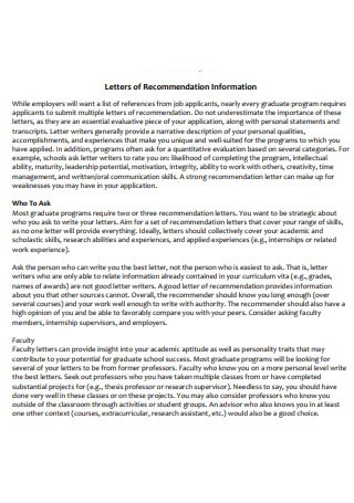 Letters of Recommendation Information