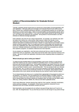 Letters of Recommendation for Graduate School Student