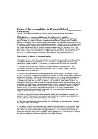 Letters of Recommendation for Graduate School for Faculty