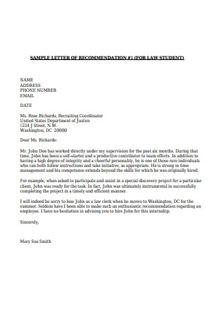 Letters of Recommendation for Law Student