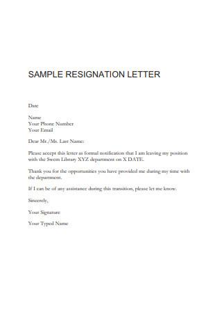 Library Resignation Letter