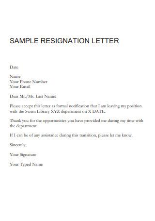 Library Teacher Job Resignation Letter
