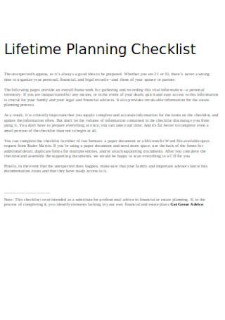 Lifetime Planning Checklist