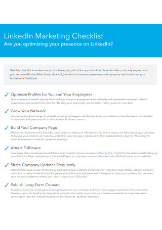 LinkedIn Marketing Checklist