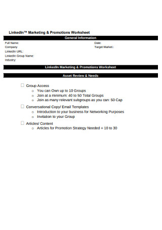 LinkedIn Marketing Promotion Worksheet