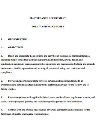 Maintenance Department Plan