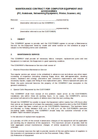 Maintenance Plan Contract for Computer Equipment and Accessories