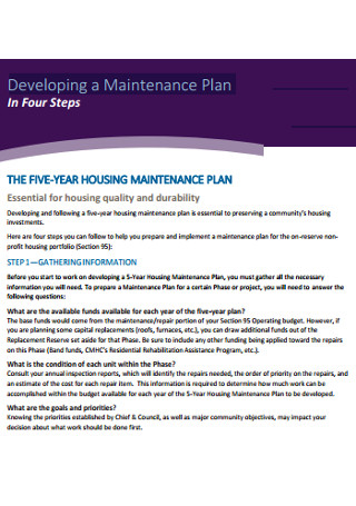 Maintenance Plan Developing