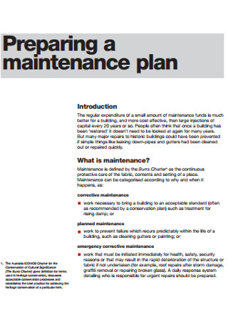 Maintenance Plan Format2