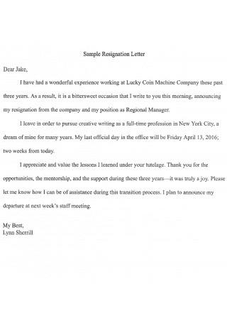 Manager Resignation Letter