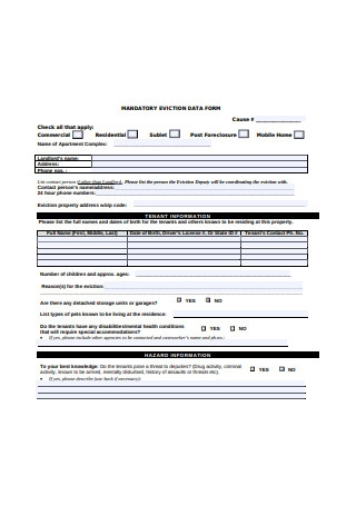 Mandatory Eviction Data Form