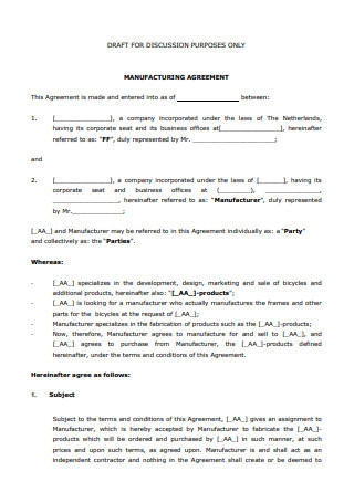Manufacturing Agreement1