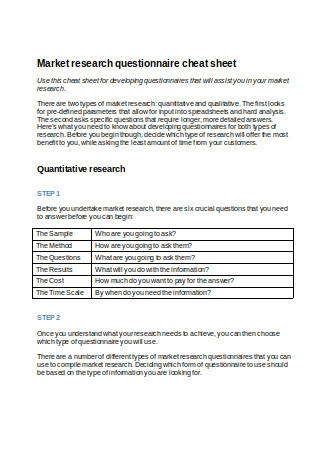 Market Research Questionnaire Cheat Sheet