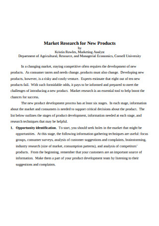 Market Research for New Products Survey