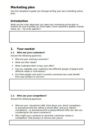 Marketing Action Plan Sample