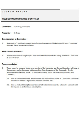 Marketing Contract Council Report