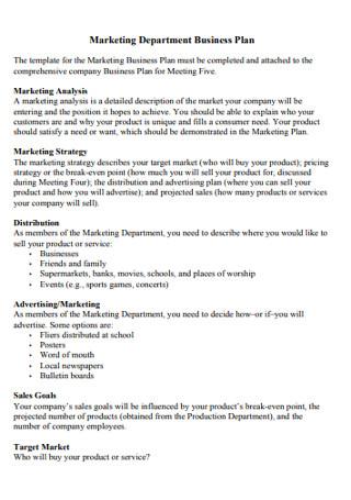 Marketing Department Business Plan