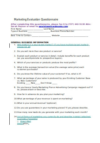 Marketing Evaluation Questionnaire