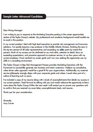Marketing Executive Sales Letter