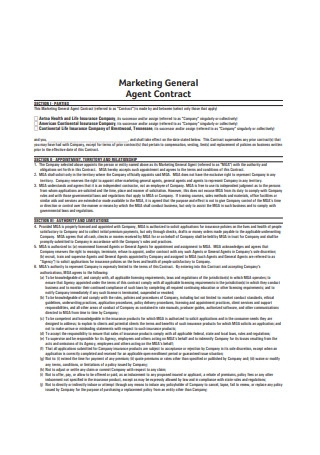 Marketing General Agent Contract