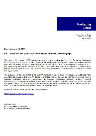Marketing Manager Letter Sample