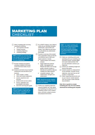 Marketing Plan Checklist Sample