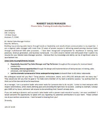 Marketing Sales Manager Letter