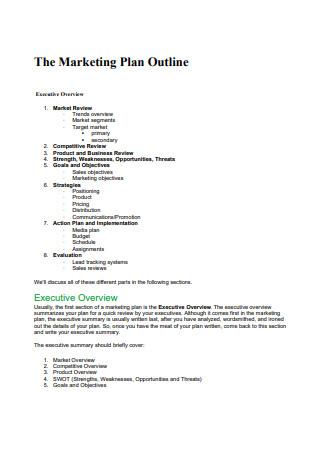 Marketing Sales Plan Outline