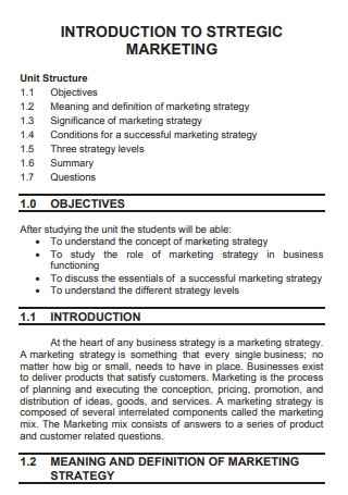 Marketing Strategies and Plans Sample
