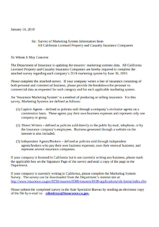 Marketing System Survey Cover Letter