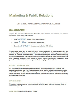 Marketing and Public Relations Plans