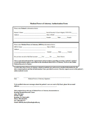 Medical Power of Attorney Authorization Form