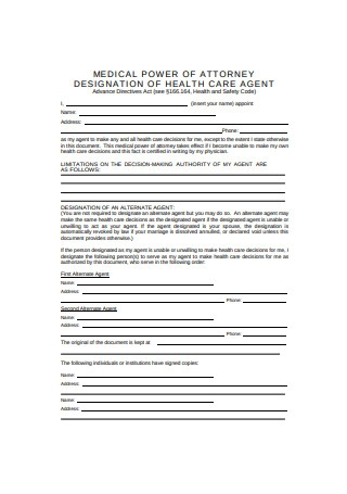 Medical Power of Attorney Designation of Health Care Agent