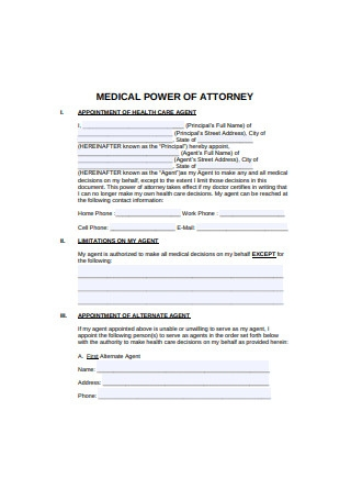 Medical Power of Attorney Format