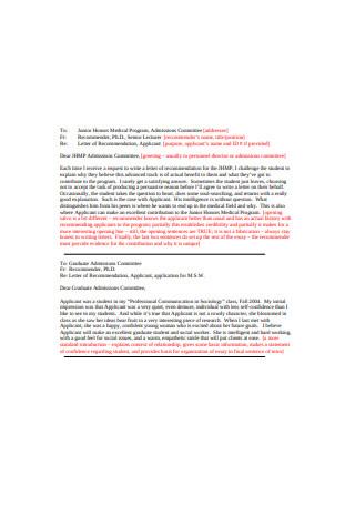 Medical School Graduate Recommendation Letter