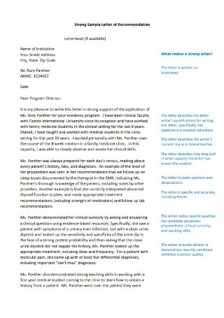 Medical Student Recommendation Letter Sample