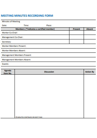 Meeting Minutes Recording Form