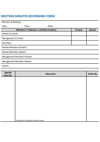 Meeting Minutes Recording Form