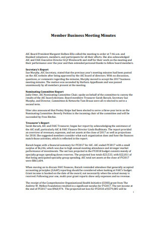 Member Business Meeting Minutes