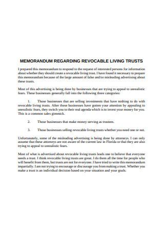 Memorandum Regarding Living Trust