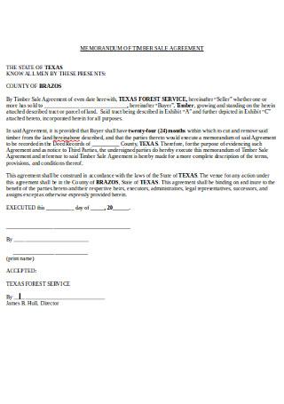 Memorandum of Timber Sales Agreement